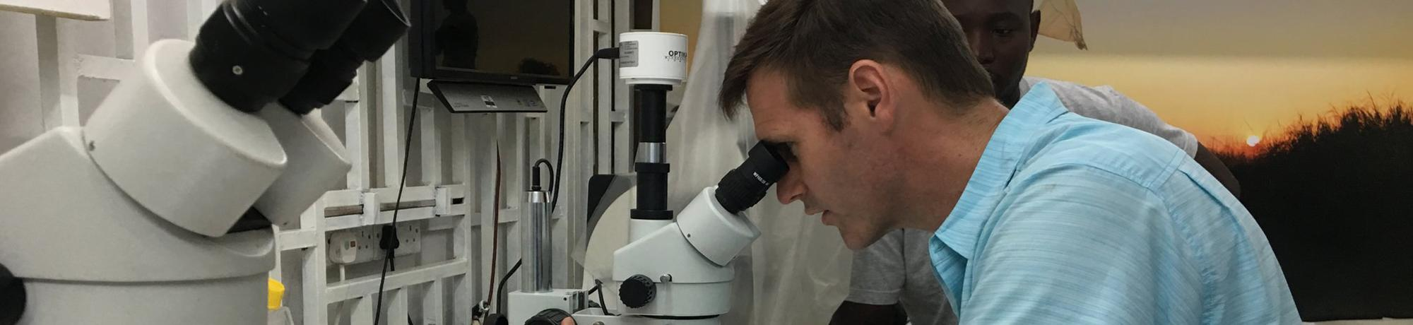 Brian Bird looking through a microscope